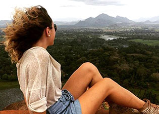 Victoria on top of Sigiriya rock in Sri Lanka