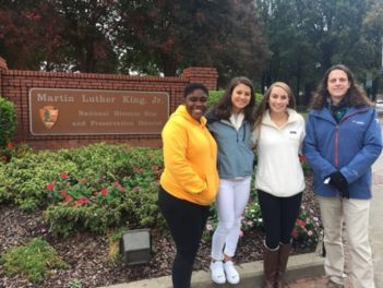 Hanifah Griffith, Carla Shapira, Delaney Russell, and Dr. Cragun at the Martin Luther King Jr. National Historic Site