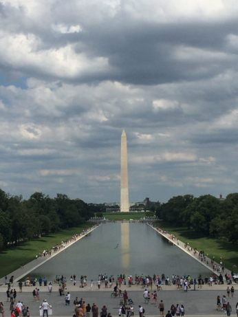 The Washington Monument - View from the Lincoln Memorial on a stormy day